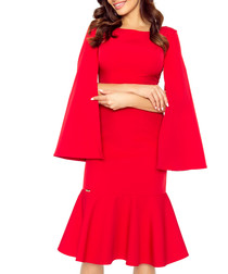 Red cape sleeve ruffle hem midi dress