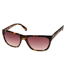 Brown & pink rectangular sunglasses