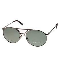 Grey & gold thin round sunglasses