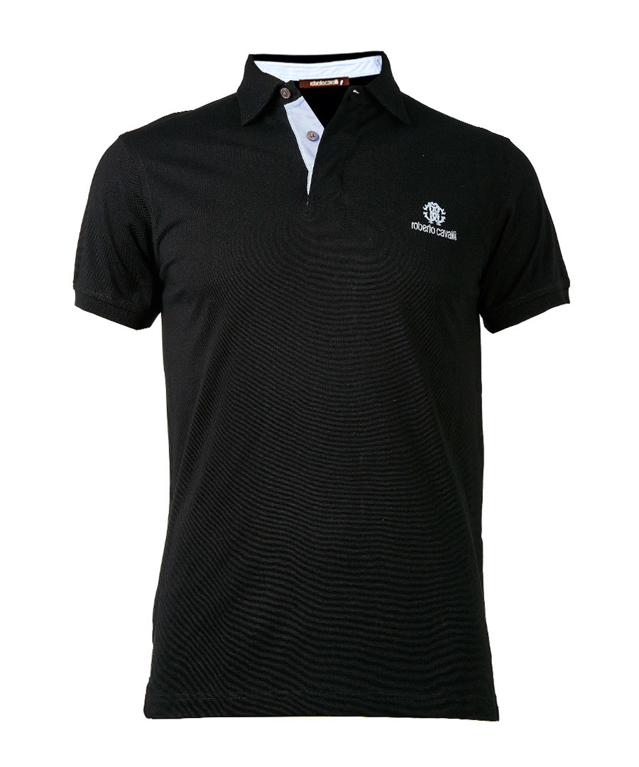 Black pure cotton polo shirt Sale - roberto cavalli