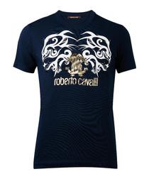 Navy pure cotton motif T-shirt