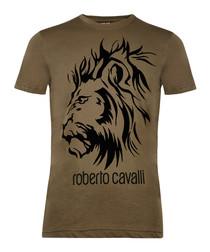 Military green cotton lion T-shirt