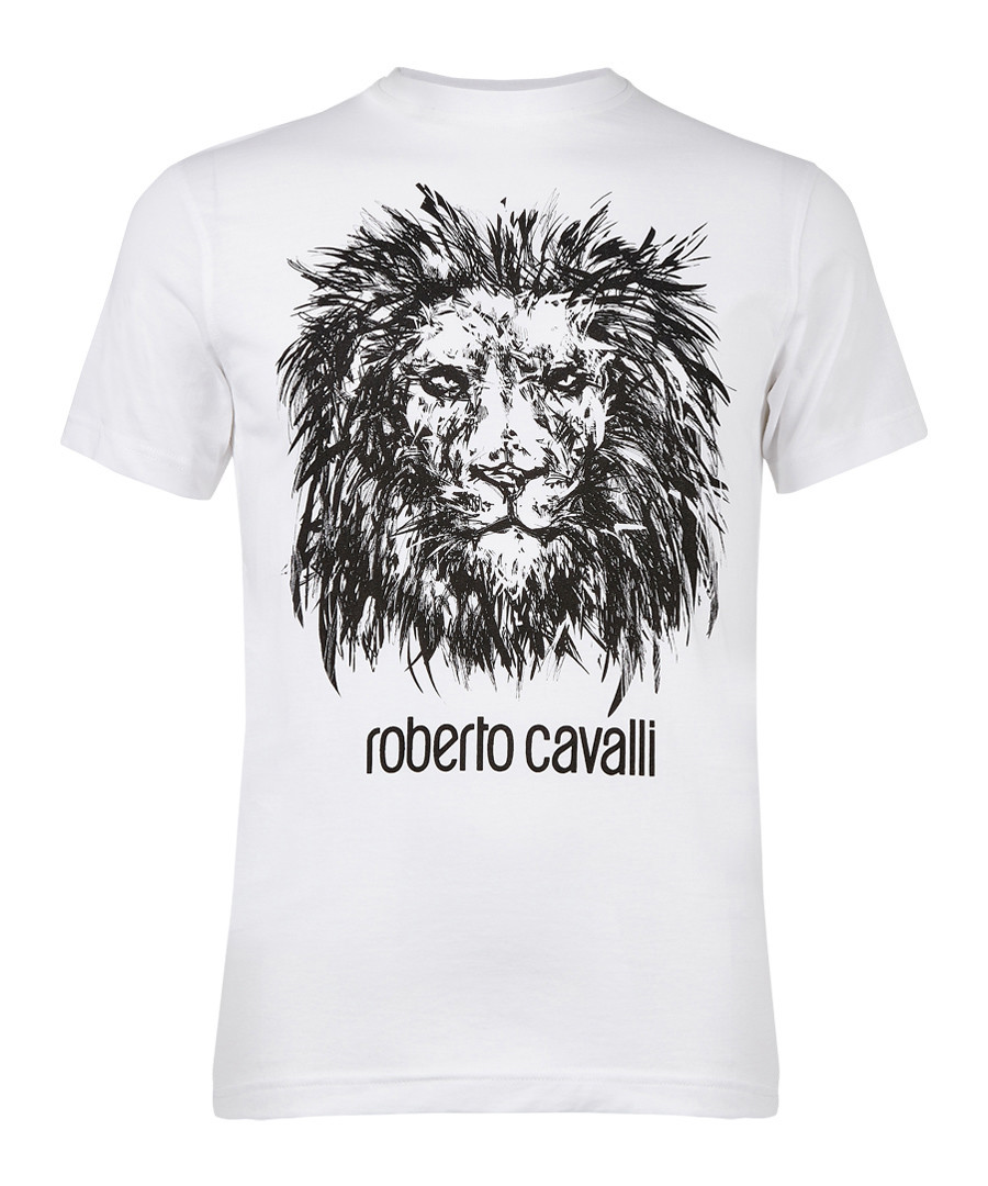 c5ef967a White pure cotton lion T-shirt Sale - roberto cavalli ...