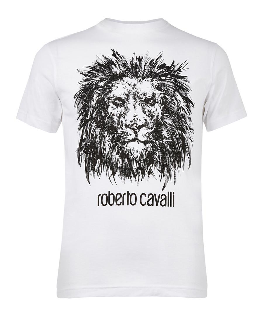 White pure cotton lion T-shirt Sale - roberto cavalli