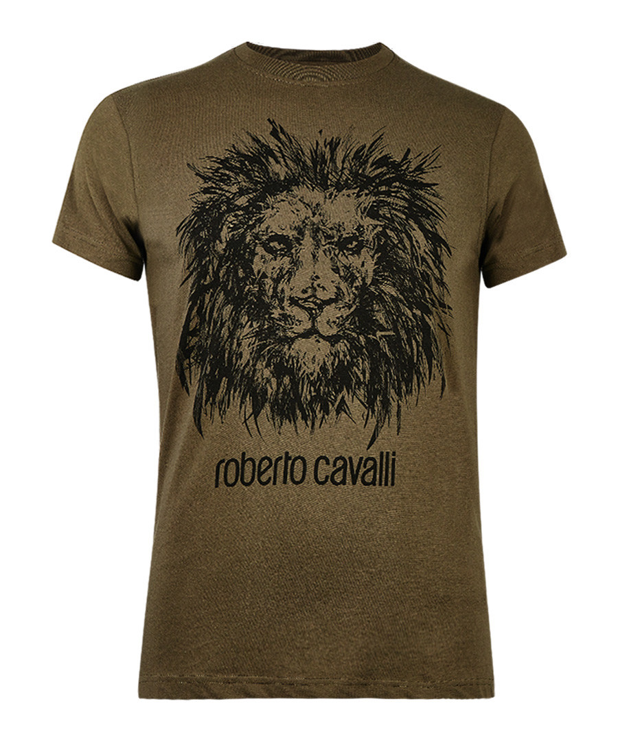 Military green cotton lion T-shirt Sale - roberto cavalli