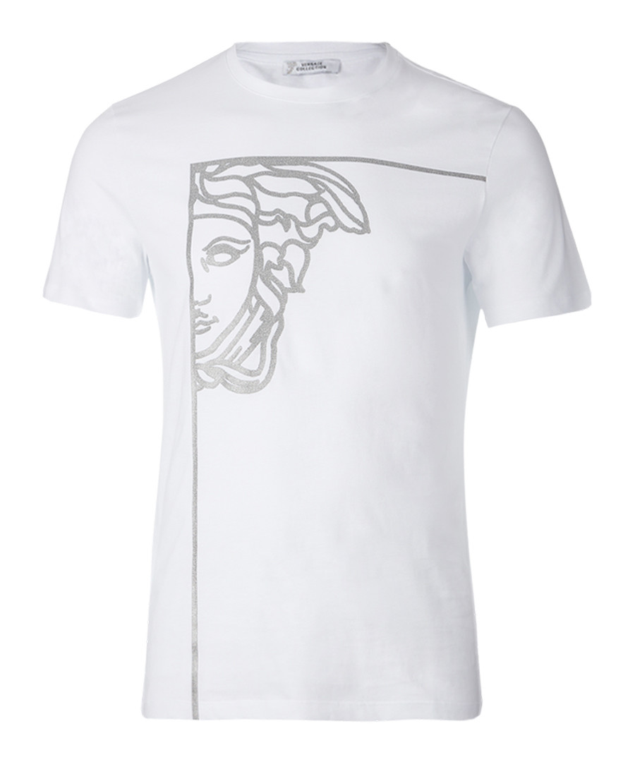 White pure cotton print T-shirt Sale - versace collection