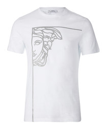 White pure cotton print T-shirt