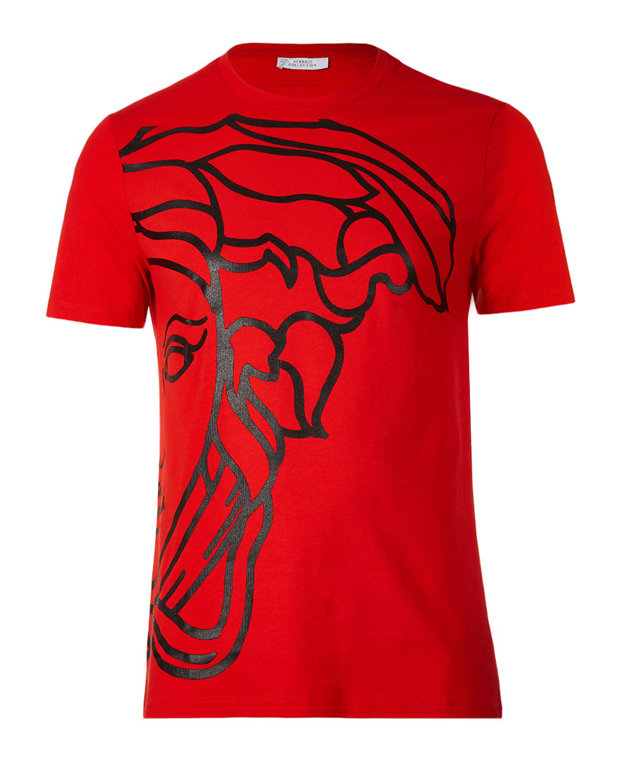 Red pure cotton print T-shirt Sale - versace collection