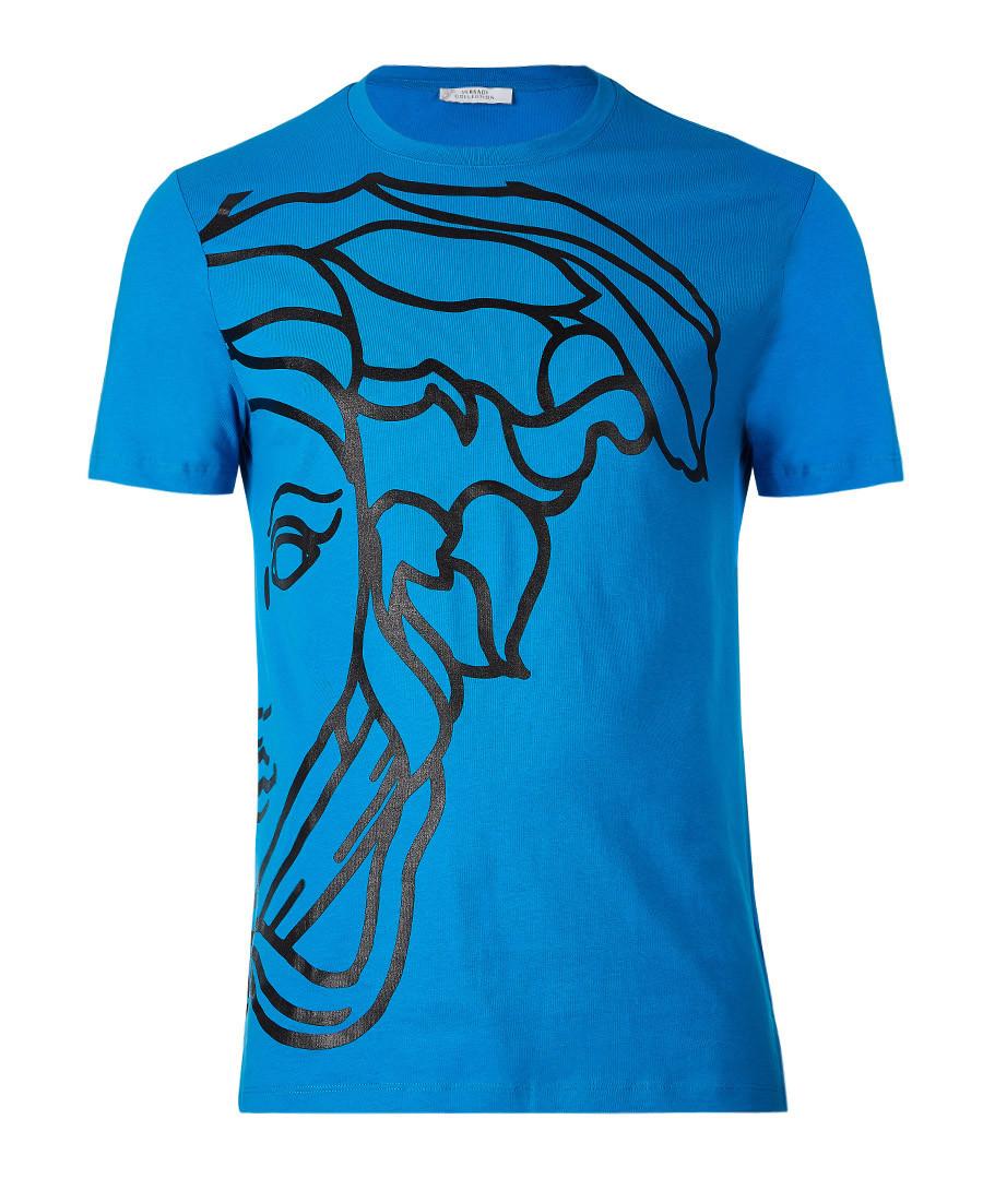 Sax blue pure cotton print T-shirt Sale - versace collection