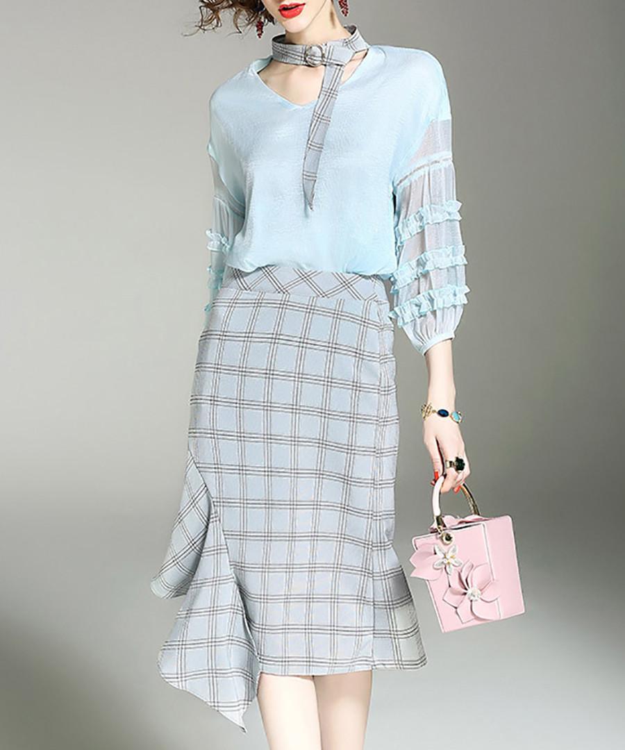 2pc blue ruffle shirt & skirt set Sale - alaroo