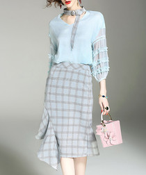 2pc blue ruffle shirt & skirt set