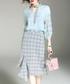 2pc blue ruffle shirt & skirt set Sale - alaroo Sale