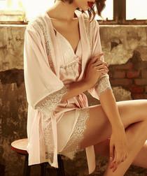 2pc pink & white lace pyjama set