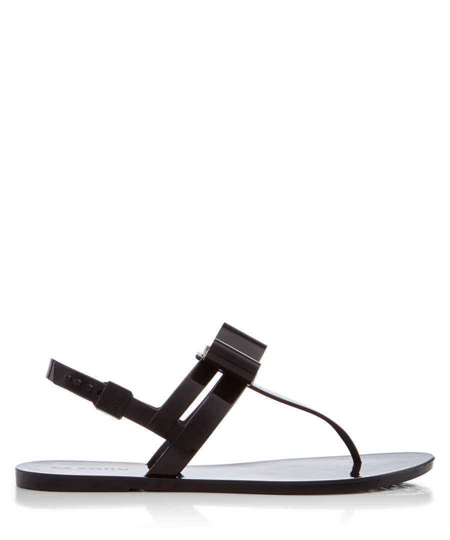 Glaze black T-bar sandals  Sale - zaxy