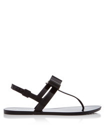 Glaze black T-bar sandals