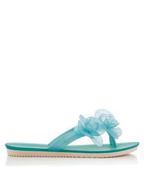 Women's Ice Flower aqua flip flops