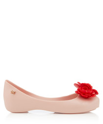 Girl's Blossom blush & red ballet flats