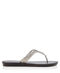 Riviera black braided flip flops