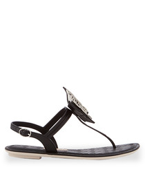 Sense black butterfly T bar sandals