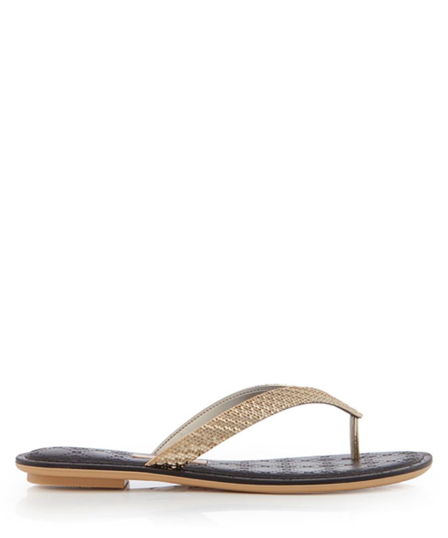 Sense gold metallic & black flip flops Sale - grendha