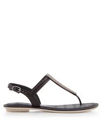 Sense black metallic T-bar sandals