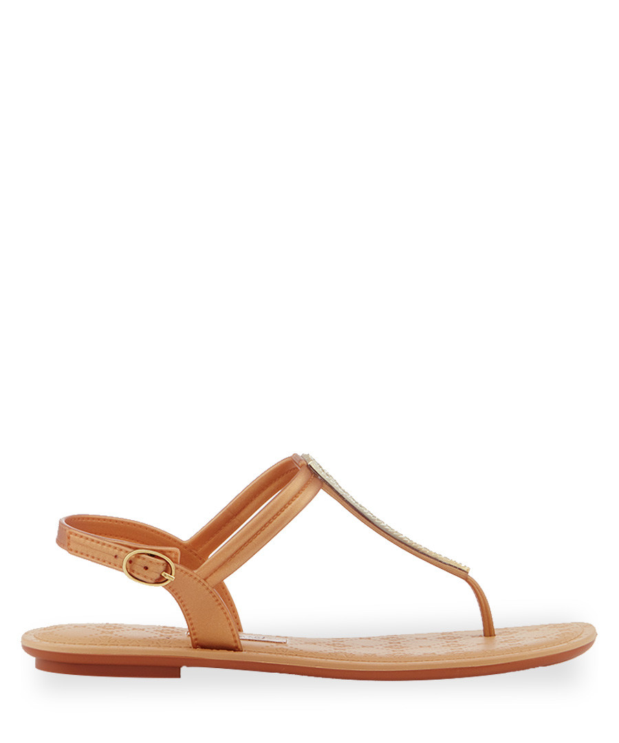 Sense gold-tone T bar sandals Sale - grendha