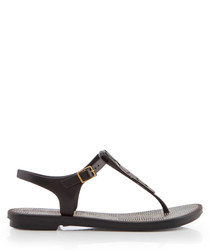 Romantic black T-bar sandals