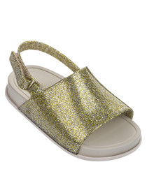 Girls' Mini Beach gold glitter sandals