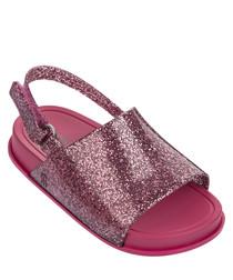 Girl's Mini Beach pink glitter sandals
