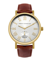 Brown & gold-tone leather numeral watch