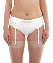 Serenity ivory lace suspender belt