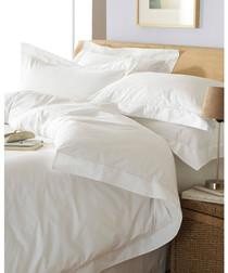 Oxford white cotton double duvet set