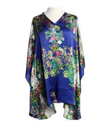 Navy pure silk floral V-neck blouse