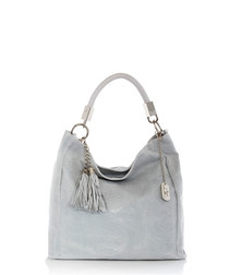 Pearl grey leather tassel grab bag
