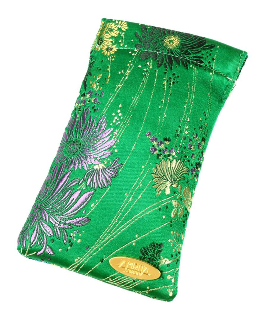 Green pure silk print glasses case Sale - amrita singh