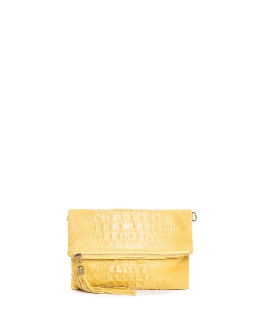 Yellow leather moc-croc fold clutch bag Sale - mila blu