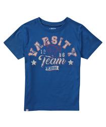 Boy's Varsity blue pure cotton T-shirt