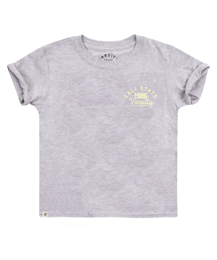 Girl's grey cotton blend T-shirt Sale - Varsity Team Players