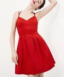 Kew red strappy mini dress