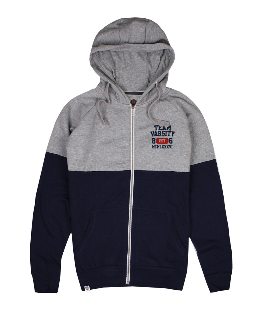 Men's navy & grey cotton hoodie Sale - Varsity Team Players