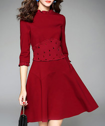 Wine high-neck ruffle skater dress