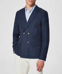 Navy linen blend double breasted blazer