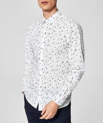 White pure cotton printed shirt