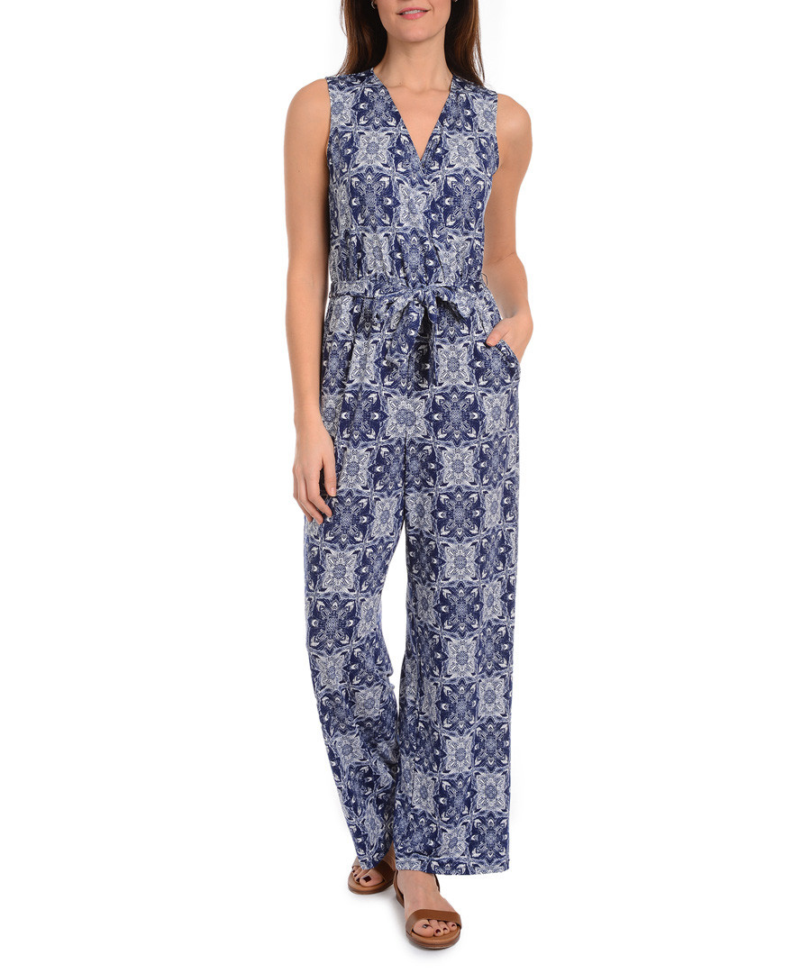 Calithea navy print V-neck jumpsuit Sale - new york collective