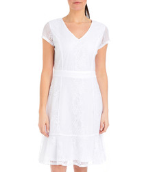 Ginger white V-neck ruffle dress