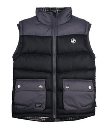 Black & charcoal quilted gilet