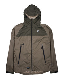 Khaki two-tone hooded coat