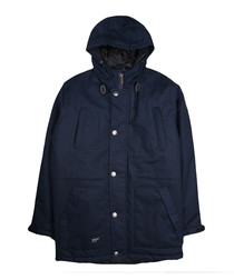 Navy button-up hooded coat