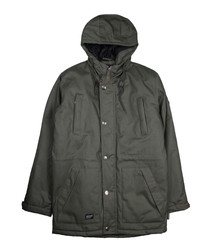 Olive button-up hooded coat