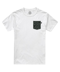 White pure cotton print pocket T-shirt